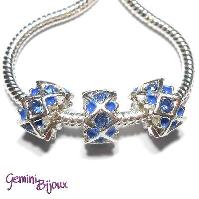 Perla a foro largo in alluminio con strass, 11x 6, silver-blue