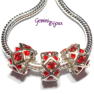 Perla a foro largo in alluminio con strass, 11x 6, silver-red