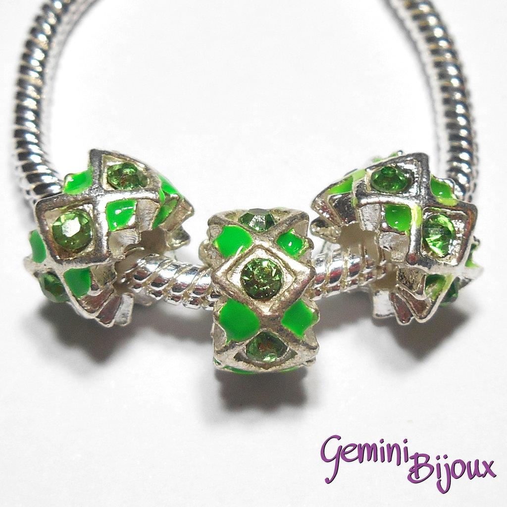 Perla a foro largo in alluminio con strass, 11x 6, silver-green