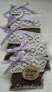 Sacchettini bomboniera-segnaposto personalizzabili con lavanda biologica