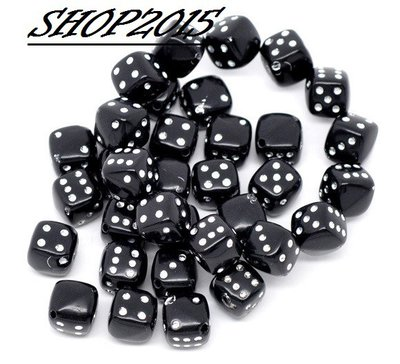 5 Distanziatori perle  a  Cubo Dado tono nero 9 mm