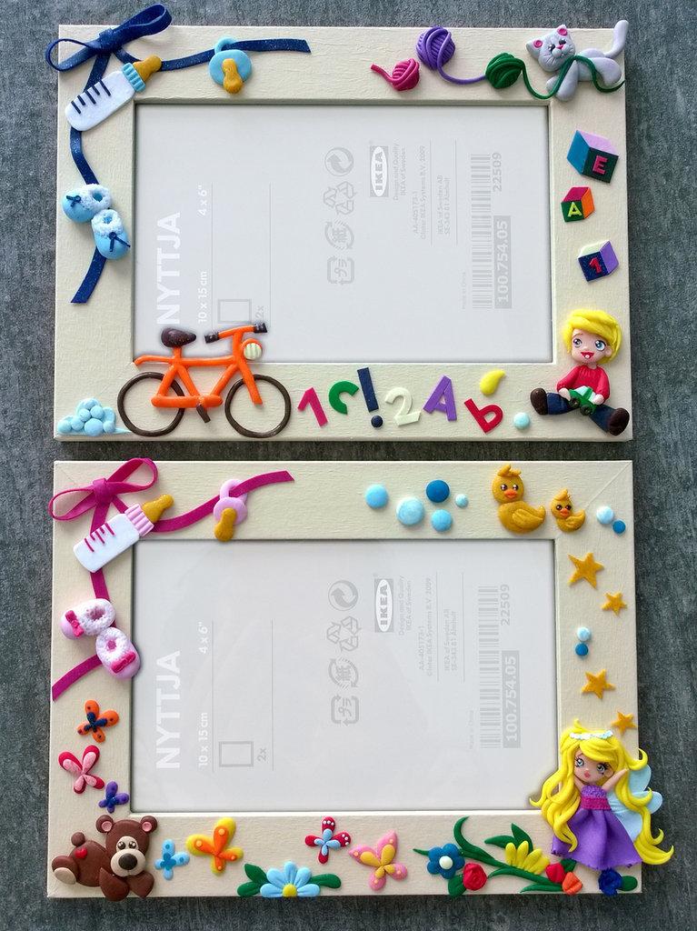 Cornici personalizzate con decorazioni in fimo
