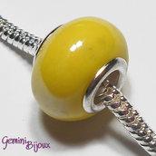 Perla a foro largo in ceramica, 15x11, giallo