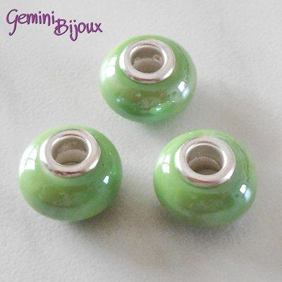 Perla a foro largo in ceramica, 15x11, verde prato