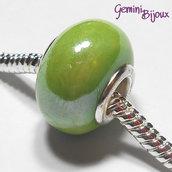 Perla a foro largo in ceramica, 15x11, verde lime