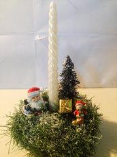Portacandela Babbo Natale e albero