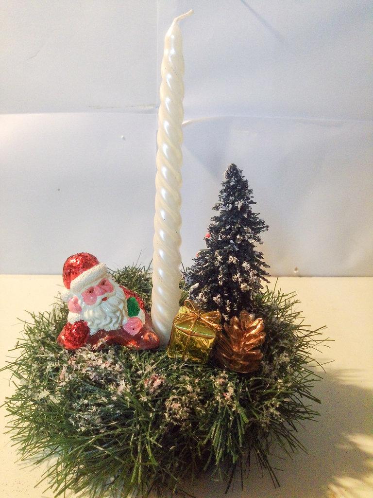 Portacandela Babbo Natale e albero 2