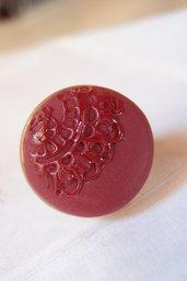 Anello vintage color Marsala / nero lavorato con merletto antico, anello ceramica polimerica, cabochon merletto, anelli eleganti, gioiello lavorato a mano