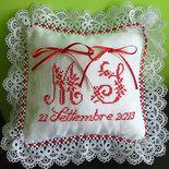 Cuscino fedi ricamato cuscinetto portafedi in pizzo punto croce iniziali data matrimonio