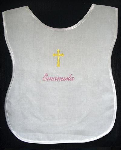 Veste battesimale bavaglino battesimo camicina lino raso ricamato personalizzato nome bimbo bimba