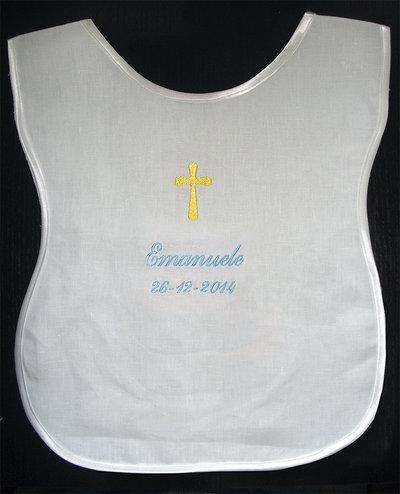 Veste battesimale bavaglino camicina lino raso ricamato personalizzato nome data battesimo bimbo bimba