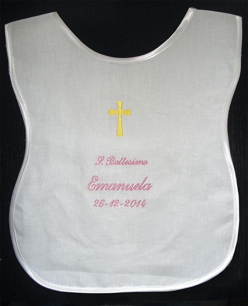 Veste battesimale camicina lino raso bavaglino ricamato personalizzato nome data battesimo bimbo bimba