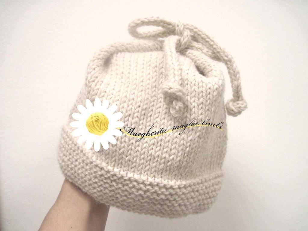 abbastanza Berretto bambini con fiocco fatto a mano in pura lana ecologica  RW08
