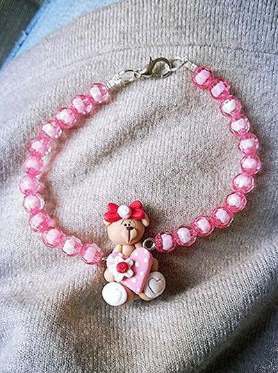 bracciale idea regalo san valentino orsetto con cuore in fimo