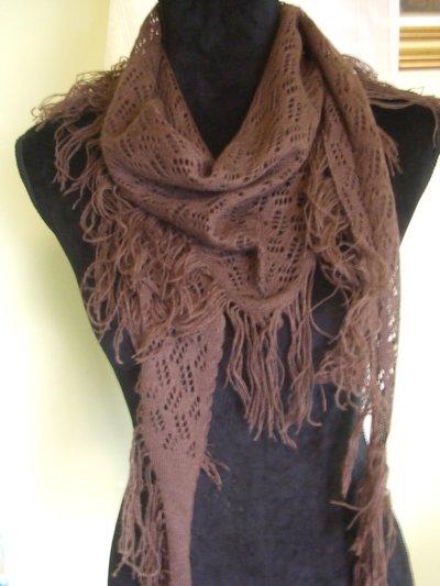 sciarpa triangolo traforata lana donna