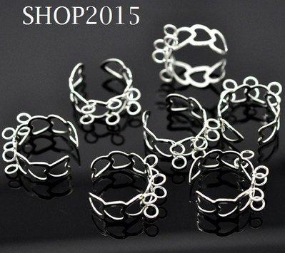 base per anello traforato con cuori senza  nichel con 6 anellini argentato