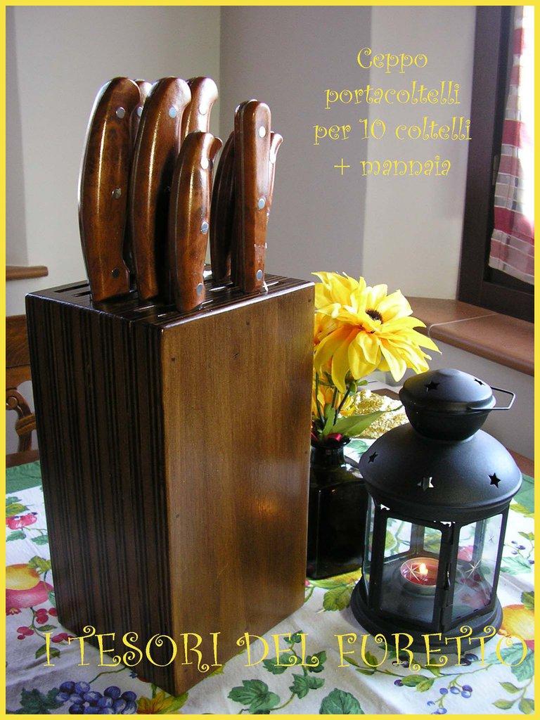 Ceppo portacoltelli + mannaia tinta noce lucido legno idea cucina regalo 10+1