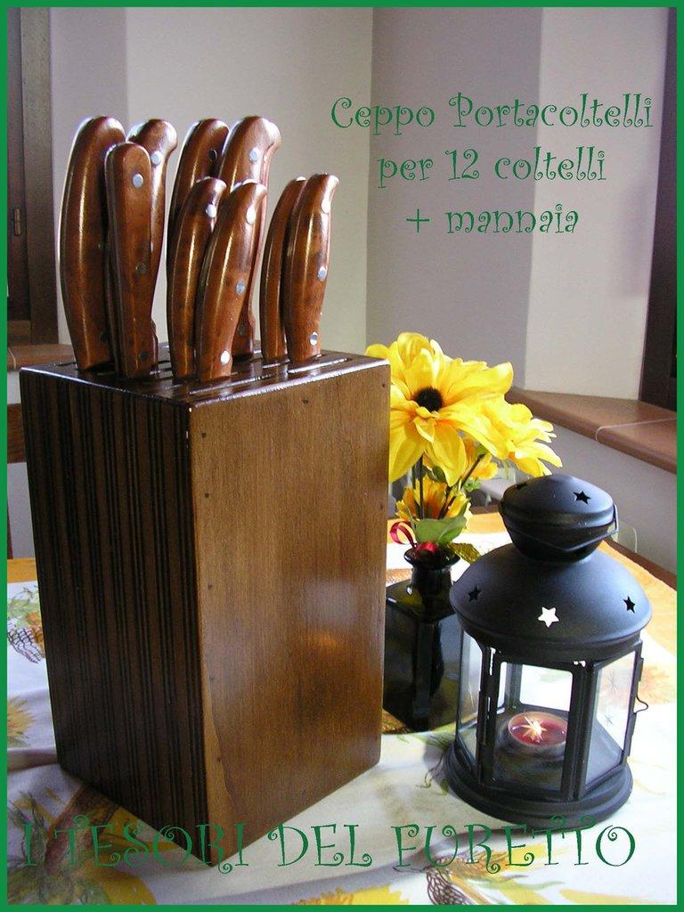Ceppo portacoltelli + mannaia tinta noce lucido legno idea cucina regalo 12+1