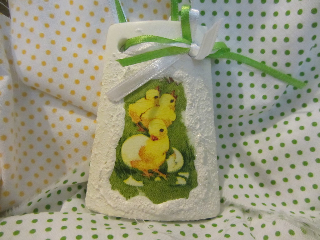 tegolina con pulcini per bomboniera Battesimo e/o Pasqua