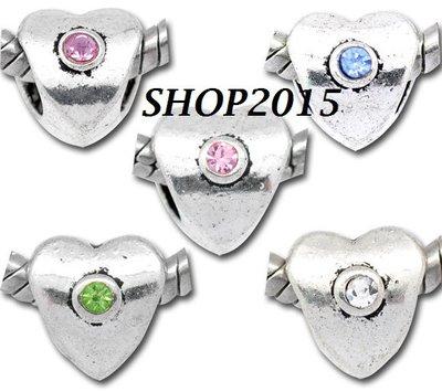 5 perle cuore con Strass Argento antico Foro Largo 10×9mm