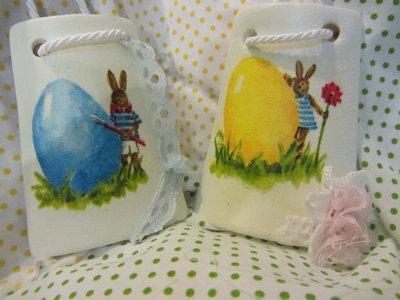tegolina con coniglietti  per bomboniera Battesimo e/o Pasqua