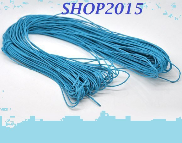 50 cm  filo , cordino cotone cerato azzurro  spessore 1,5 mm