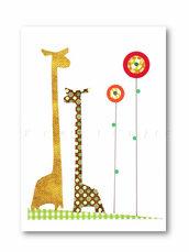 Stampa con giraffe e fiori multicolori