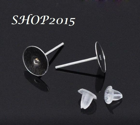 10 base orecchini a perno argentato  con base piatta misura piastra 8mm +gommini
