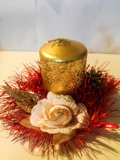 Portacandela natalizio fiore/pigna 2