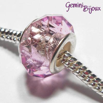 Perla a foro largo in vetro, rondella sfaccettata, 13x8 rosa