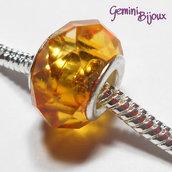 Perla a foro largo in vetro, rondella sfaccettata, 13x8 orange