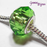 Perla a foro largo in vetro, rondella sfaccettata, 13x8 green
