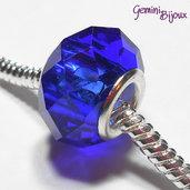 Perla a foro largo in vetro, rondella sfaccettata, 13x8 blu