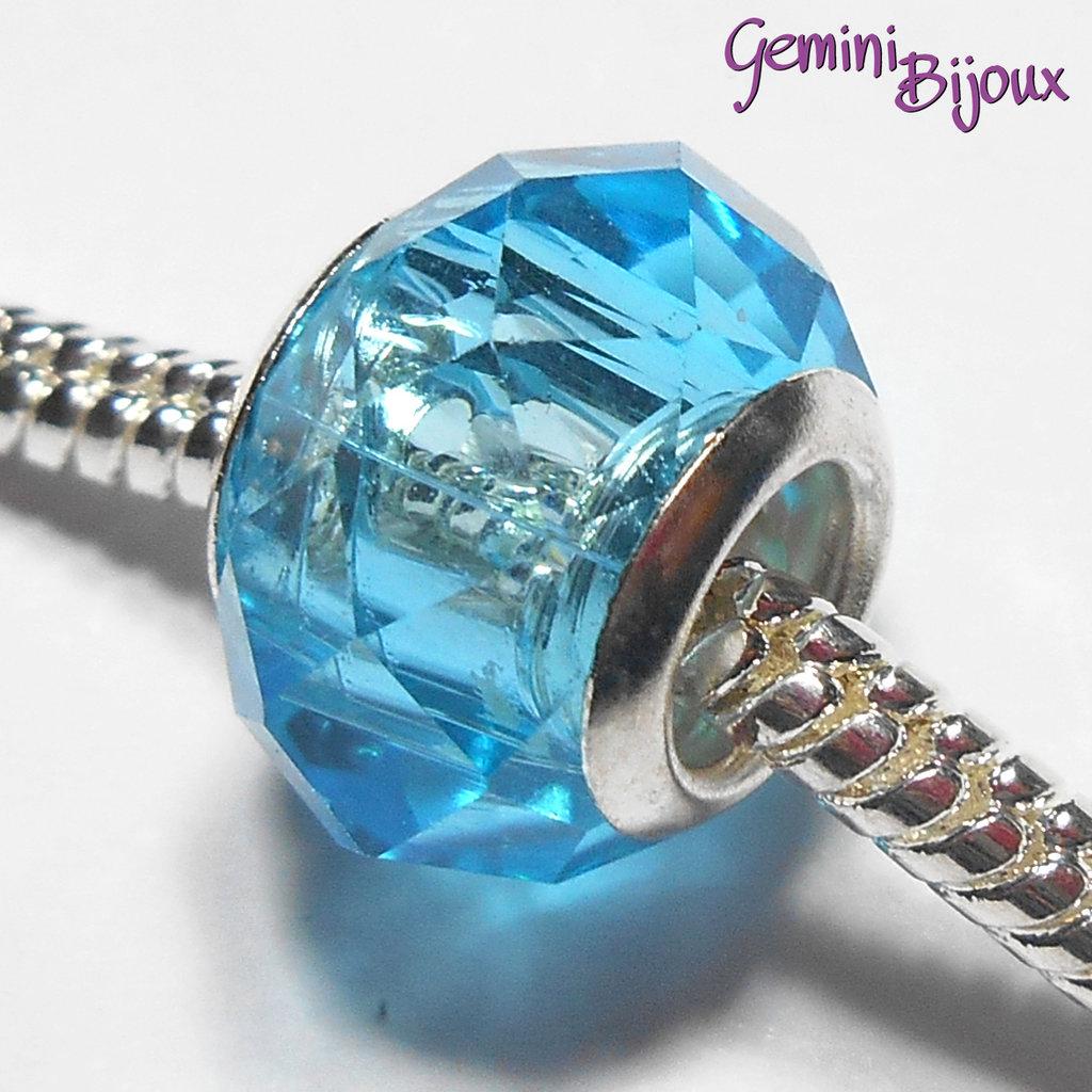 Perla a foro largo in vetro, rondella sfaccettata, 13x8 azzurro