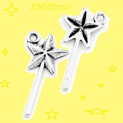 Charm ciondolo Bacchetta magica a Stella 2,5x1,3 cm argento Antico