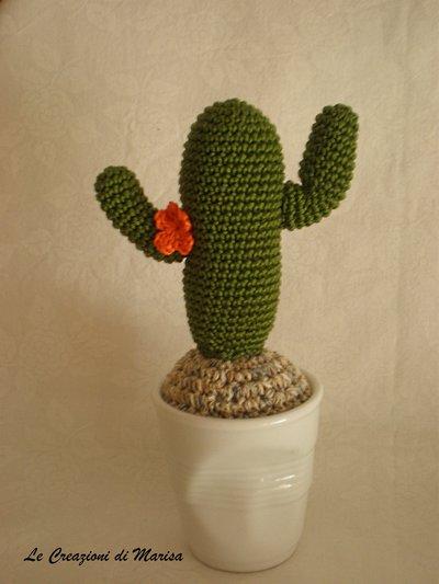 cactus uncinetto fiore arancio