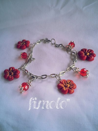 bracciale fiorellini rossi