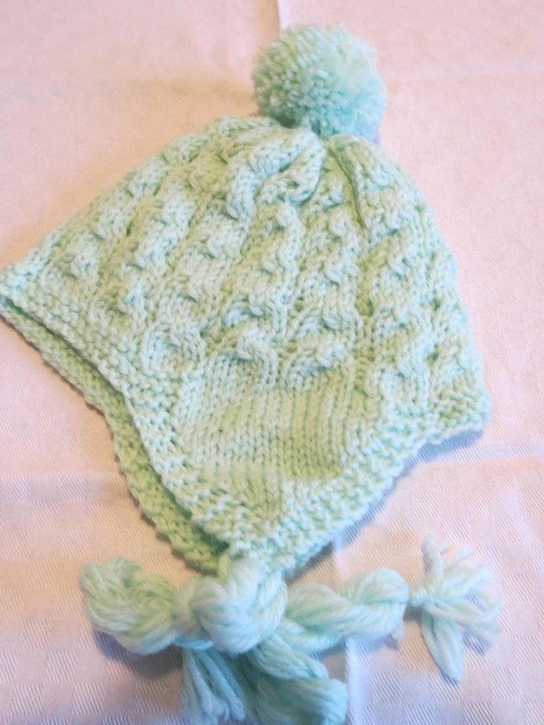 Cappellino lana primi mesi verde acqua