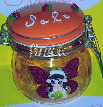 barattoli cucina in vetro con folletto alato sale zucchero e caffè