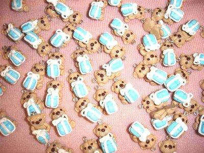 UN CIONDOLO A SCELTA - fimo - orsetti orsacchiotti con pacchetto color tiffany blue per orecchini, braccialetti, collane