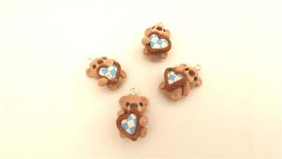 UN CIONDOLO A SCELTA - fimo - orsetti orsacchiotti con cuore per orecchini, braccialetti, collane
