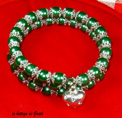 bracciale con perle cerate verdi