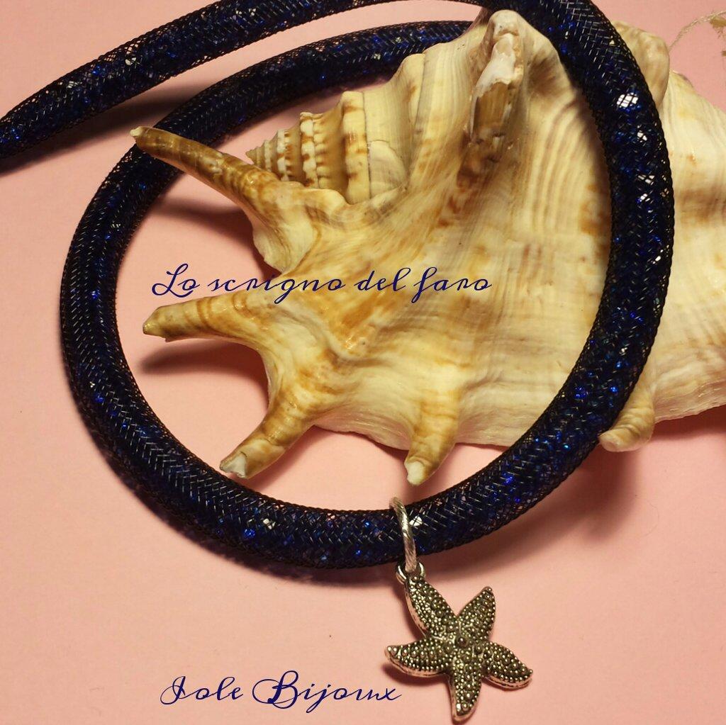 Collana stile Stardust blu con stella marina