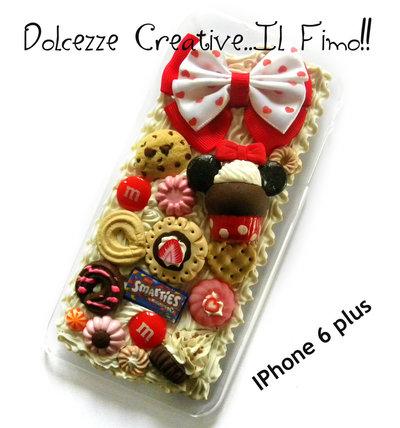 Cover Iphone 6/6s plus arcobaleno rosso topolina, kawaii, cute, biscotti, fragole, smarties, cioccolato