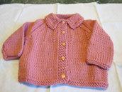 Cardigan in lana rosa per bambina