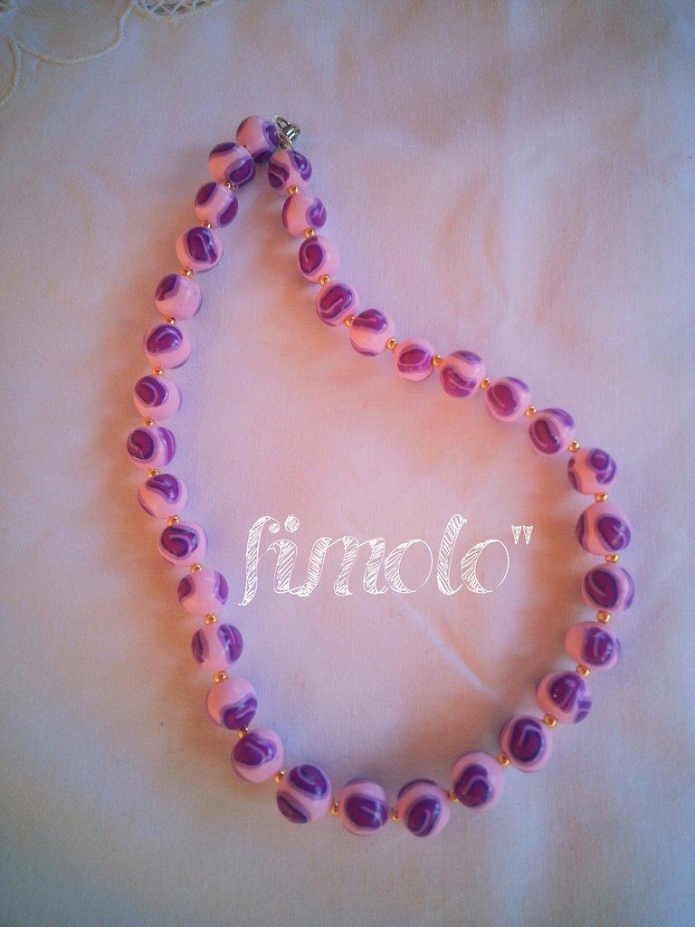 collana perle di fimo rosa