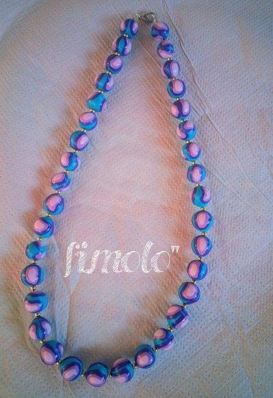 collana perle fimo azzurro- turchese