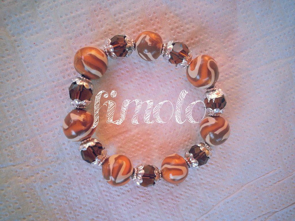 braccialetto perle marroni in fimo