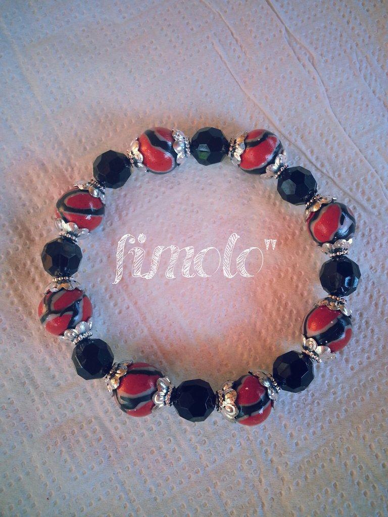 braccialetto perle rosse in fimo