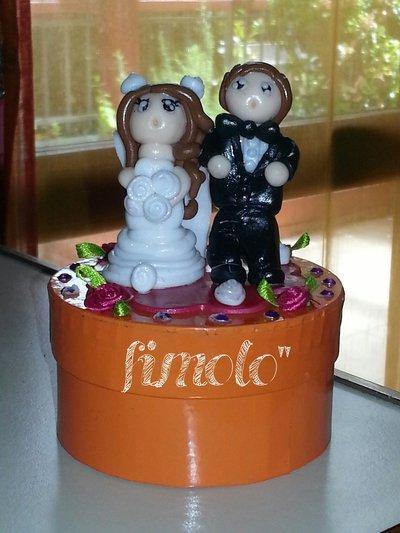 bomboniera matrimonio sposini con scatolina
